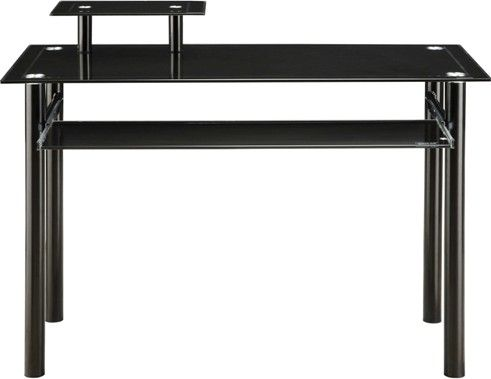Innovex Dp1042gbe Glass Computer Desk Compact Ergonomic Design Large Work Station Slide Out Keyboard Tray Cpu And Printer Shelves Powder Coated Steel