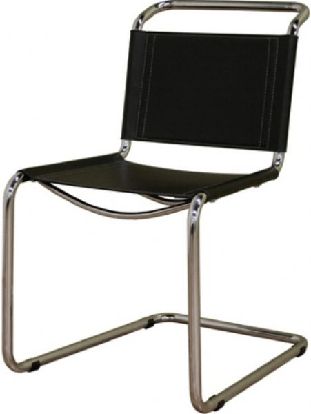 Superieur Wholesale Interiors DR19331 Baxton Studio Zale Black Leather Chair, Steel  Frame With Chrome Finish, Black Bonded Leather Seating, Light Tan Accent  Stitching ...
