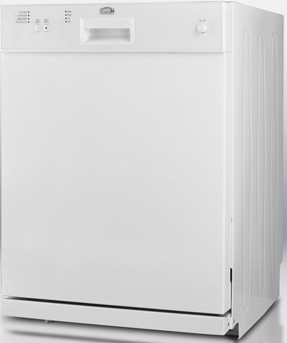 Summit dw2432 wide 24 dishwasher in white finish with stainless steel interior ultra quiet for White dishwasher with stainless steel interior