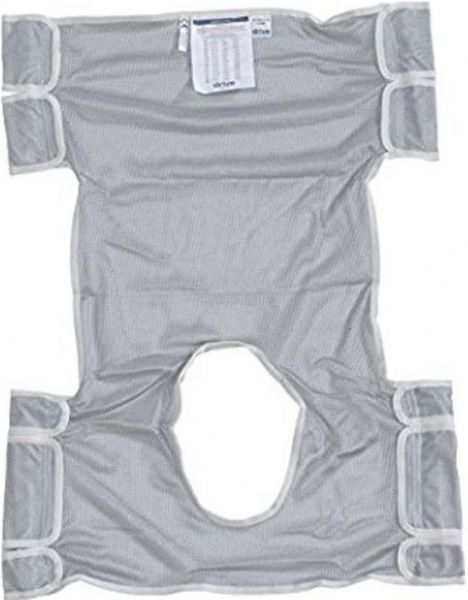 Drive Medical 13238D Patient Lift Sling with Head Support and Commode Opening, Dacron Primary Product Material, Mesh Design, Standard Product Size, 2 or 6 Cradle Points, 2 Sling Points, 400 lbs Product Weight Capacity, UPC 822383138619, Gray Color (13238D 13238-D 13238 D DRIVEMEDICAL13238D DRIVEMEDICAL-13238-D DRIVEMEDICAL 13238 D)