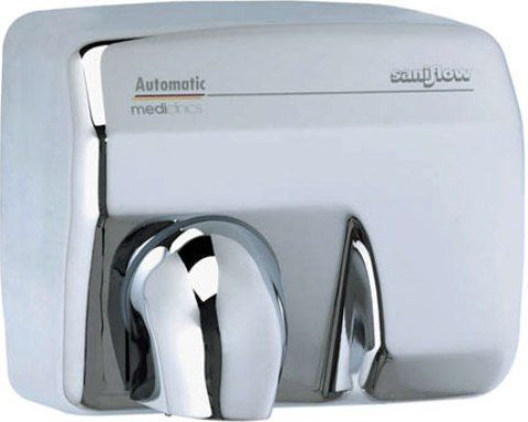"Saniflow E88AC Automatic Hand Dryer, Metal sheet cover, 5/64"" thick, Bright Finish; Voltage: 110 - 120 V; Power consumption: 16 A; Motor: 1/3 HP; ..."