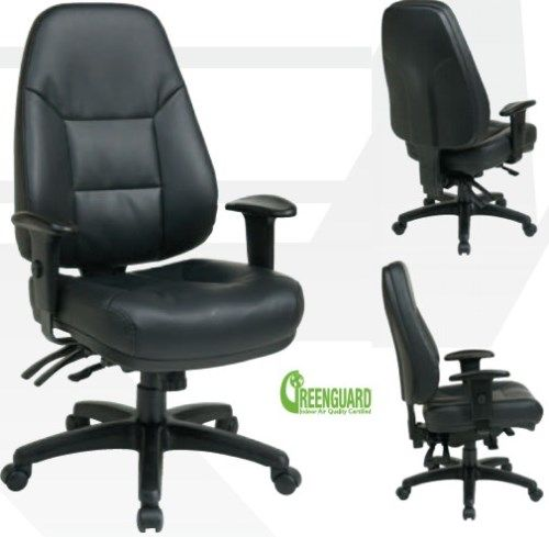 Genial Office Star EC4350 EC3 Worksmart Executive Multi Function Ergonomic High  Back Eco Leather Chair With Ratchet Back Height Adjustment, Thick Padded  Contour ...