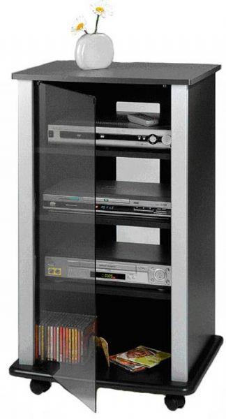 Superbe Elite El 141s Four Shelf Audio Rack With Gl Door On Casters