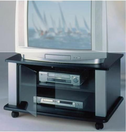 elite industries el146 tv stand on heavy duty casters accommodates up to 36 tv s lcd. Black Bedroom Furniture Sets. Home Design Ideas