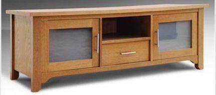 Elite Industries El 786 Wide Credenza Tv Stand In Genuine Oak Veneer