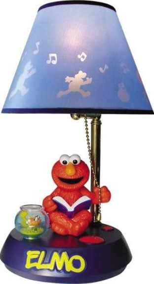 TeleMania ELMO_LAMP Elmo Animated Talking Lamp, Elmo sits on a ...
