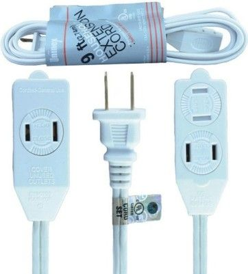 ENS AC09UL 9-Foot (2.74m) Indoor Extension Cord, White; Ideal for Small Appliances, Office Equipment and Lamps Operating at Less Than 13 Amps; 3 Outlets with Rotating Safety Covers to Help Prevent Accidental Shocks; Polarized Plug is Not Intended to be Mated with Non-polarized Outlets (ENSAC09UL AC-09UL AC09-UL AC 09UL)