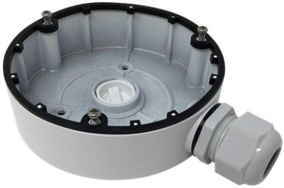 H SERIES ES1280ZJ-DM8-2 Junction Box, White For use with ESAC324F-FD4M, ESAC326-FD4 and ESAC344-FD4 Turret Cameras; Aluminum Alloy Material with Surface Spray Treatment; Side Inlet and Bottom Inlet; Interchangeable Bottom Waterproof Cover and Side Gland Nut; Waterproof Design; Dimension�126.7x35 mm (4.99
