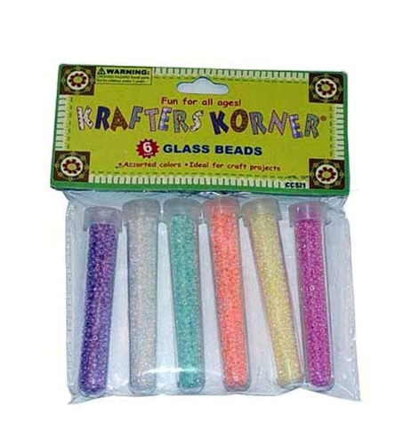 EOSK CC521 6 Pack Glass Beads In Tube (assorted Colors), 0