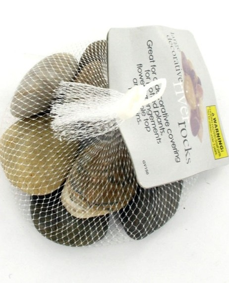 Bulk Buys GV150 large river rocks, 1.527 lbs. UPC 731015071401. Price is for each pack of Rocks, Must be ordered in Cases of 24 packs; Rocks are Beige, Brown & Gray (EOSGV150)