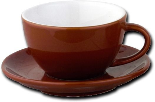 European Gift 020C Italian Style Moka Cafe Cappuccino Cups, 7 oz, Set Of 6; Brown cappuccino cups, heavy weight, set/6 cups and saucers 7oz; Italian