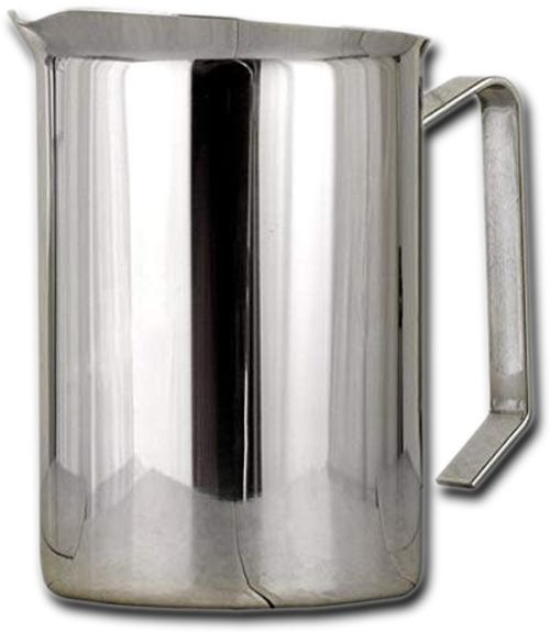 European Gift 39 Stainless Steel Frothing Pitcher, 50oz Capacity; Heavy duty 18/8 stainless steel; Commercial grade; Perfect for restaurant use; 50oz capacity; Large handle; Gift boxed; Stainless steel Steaming Pitcher 50 oz. capacity; Great for frothing or steaming multiple serving cappuccino's; Dimensions 11