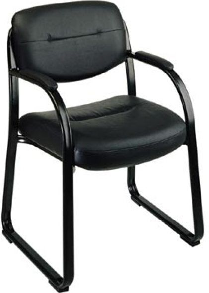 Office Star EX1055 3 Black Leather Visitors Chair Heavy Duty Sled Base Cont