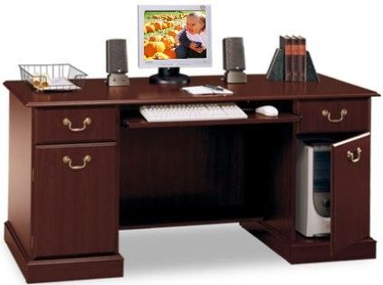 bush ex45610 03 saratoga executive collection credenza wide retracting keyboard shelf 2 cabinets for cpu storage and office supplies wire access in the bush saratoga computer desk