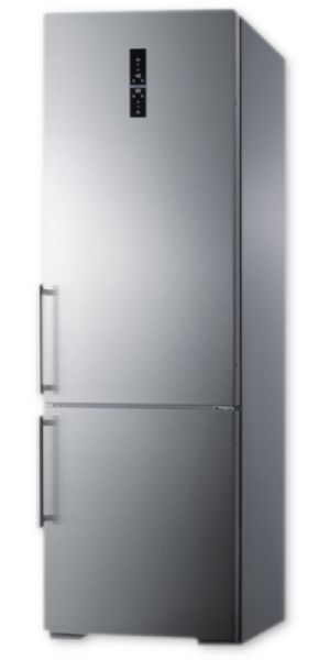 Summit FFBF249SS ENERGY STAR Certified European Counter Depth Bottom Freezer Refrigerator With Stainless Steel Doors, Platinum Cabinet, And Digital Controls For Each Section; ENERGY STAR certified, rated by the DOE to perform with more efficiency than federal standards require, saving your unit energy and you on higher utility costs; UPC 761101053554 (SUMMITFFBF249SS SUMMIT FFBF249SS SUMMIT-FFBF249SS)