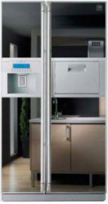 Daewoo FRS T24FAM Side By Side 24 Cu.Ft. Refrigerator, Mirror Color, Trim  Kit Glass Door, Home Bar, Automatic Ice U0026 Water Dispenser, Nano Silver ...