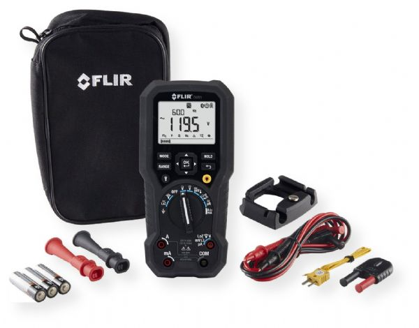 FLIR DM91 Industrial TRMS Multimeter with Datalogging and Wireless Connectivity; Measure true RMS, LoZ, and VFD; Microamp and milliamp current; Assess temperatures up to 400 celsius degrees with the type K thermocouple; Dimensions 3.7 x 1.9 x 7.9 inches; Weight 2.52 lbs; UPC 793950370919 (FLIRDM91 FLIR-DM91 ELECTRONIC ELECTRIC TESTER CIRCUIT WATTS DESING)