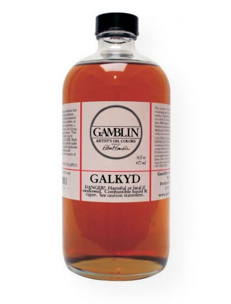 Gamblin G01016 Galkyd Medium 16oz; High viscosity and fast dry; Galkyd increases the fluidity of oil colors and speeds drying time; Thin layers of oil colors are dry in 24 hours; Galkyd also levels brush strokes, creates a strong, flexible paint film and leaves enamel-like glossy finish; Can be thinned with odorless mineral sprits; Make excellent glazing mediums; Shipping Weight 1.00 lb; Shipping Dimensions 3.00 x 3.00 x 6.75 inches; UPC 729911010167 (GAMBLIN-G01016 GAMBLIN-01016 PAINTING)