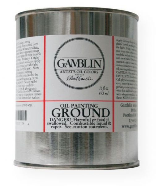 Gamblin G01116 Ground 16oz; Bright white, non-absorbent ground like a traditional oil ground creates a solid foundation for oil painting; Paintings made on non-absorbent grounds are brighter because the oil is retained in the paint layers rather than absorbed into the ground; Grounds make canvas and linen stiffer than acrylic gesso and more flexible than oil primers; UPC 729911011164 (GAMBLIN-G01116 GAMBLIN-01116 PAINTING)