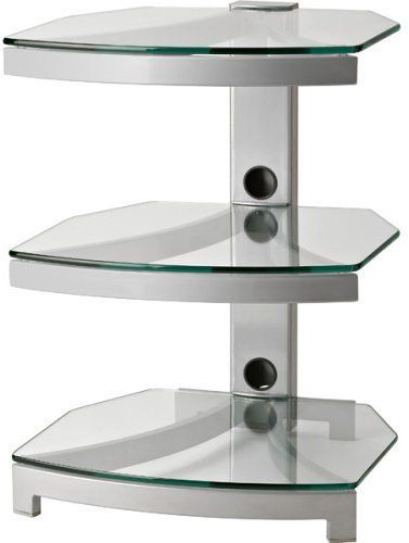 OmniMount G303GY Model Steller Three Shelf Audio/ Video Table Metal/Glass  In Grey Color, Designed For Large Audio Components, Supports Tabletop Flat  Panels, ...