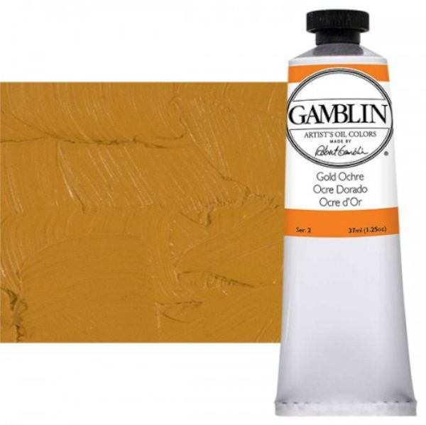 Gamblin G1280, Artists' Grade Oil Color 37ml Gold Ochre; Professional quality, alkyd oil colors with luscious working properties; No adulterants are used so each color retains the unique characteristics of the pigments, including tinting strength, transparency, and texture; Fast Matte colors give painters a palette of oil colors that dry to a matte surface in 18 hours; Dimensions 1.00