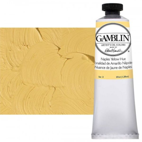 Gamblin G1450, Artists' Grade Oil Color 37ml Naples Yellow Hue; Professional quality, alkyd oil colors with luscious working properties; No adulterants are used so each color retains the unique characteristics of the pigments, including tinting strength, transparency, and texture; Fast Matte colors give painters a palette of oil colors that dry to a matte surface in 18 hours; Dimensions 1.00