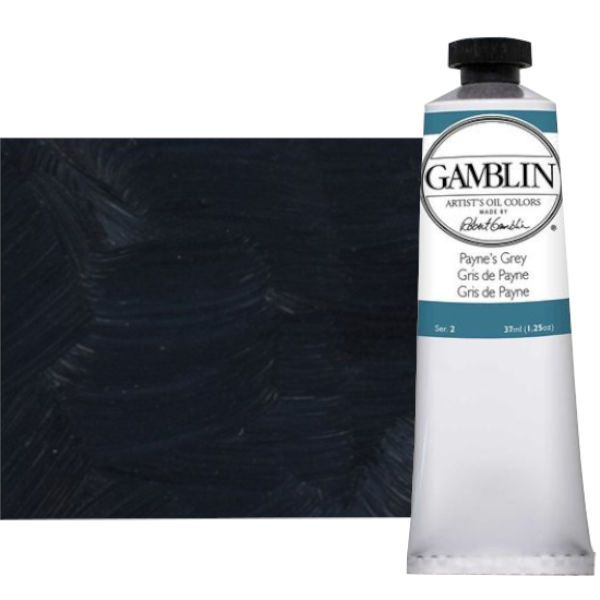 Gamblin G1550, Artists' Grade Oil Color 37ml Payne's Grey; Professional quality, alkyd oil colors with luscious working properties; No adulterants are used so each color retains the unique characteristics of the pigments, including tinting strength, transparency, and texture; Fast Matte colors give painters a palette of oil colors that dry to a matte surface in 18 hours; Dimensions 1.00