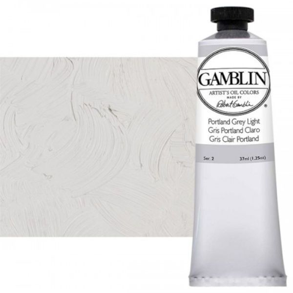 Gamblin G1551, Artists' Grade Oil Color 37ml Portland Grey Light; Professional quality, alkyd oil colors with luscious working properties; No adulterants are used so each color retains the unique characteristics of the pigments, including tinting strength, transparency, and texture; Fast Matte colors give painters a palette of oil colors that dry to a matte surface in 18 hours; Dimensions 1.00