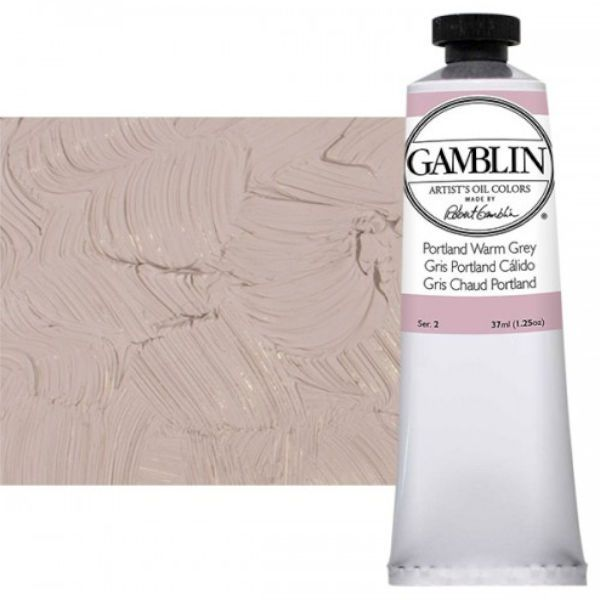 Gamblin G1555, Artists' Grade Oil Color 37ml Portland Warm Grey; Professional quality, alkyd oil colors with luscious working properties; No adulterants are used so each color retains the unique characteristics of the pigments, including tinting strength, transparency, and texture; Fast Matte colors give painters a palette of oil colors that dry to a matte surface in 18 hours; Dimensions 1.00