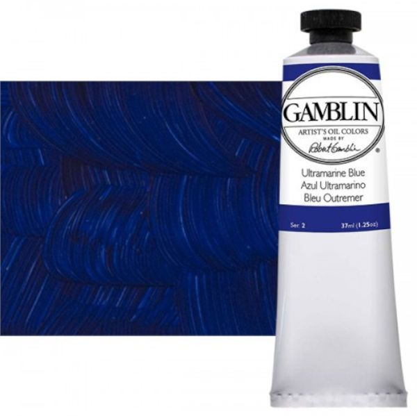 Gamblin G1700, Artists' Grade Oil Color 37ml Ultramarine Blue; Professional quality, alkyd oil colors with luscious working properties; No adulterants are used so each color retains the unique characteristics of the pigments, including tinting strength, transparency, and texture; Fast Matte colors give painters a palette of oil colors that dry to a matte surface in 18 hours; Dimensions 1.00