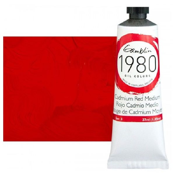 Gamblin G7150, 1980 Oil Color Paint Cadmium Red Medium 37ml; The Gamblin's 1980 oil colors paint are made with pure pigments, the finest refined linseed oil and real value; This line of student grade oil paint offers artists true colors and a smooth application; Instead of a homogenized texture or muddy color mixtures; Dimensions 4