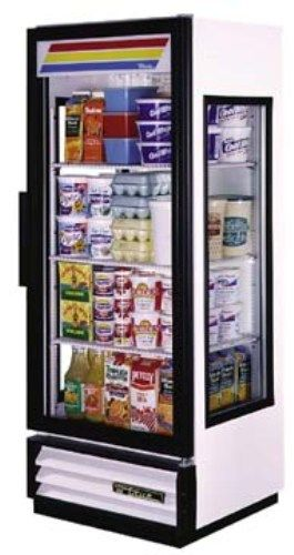 "True GEM-12 Glass End Merchandisers, 1 Door, Capacity 12 Cu.Ft, 3 Shelves, 1/5 HP, Adjustable, heavy duty, PVC coated wire shelves, Available with optional 21/2"" diameter castors (GEM12 GEM 12 GE-M12 G-EM12)"