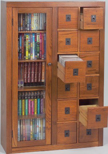 Leslie Dame GL06 0518 Retro Design, Librarian Card File Media Cabinet, With  Shelves, 393 CDs Or 184 DVDs Maximum Capacities, 4 Adjustable Wood Shelves  For A ...