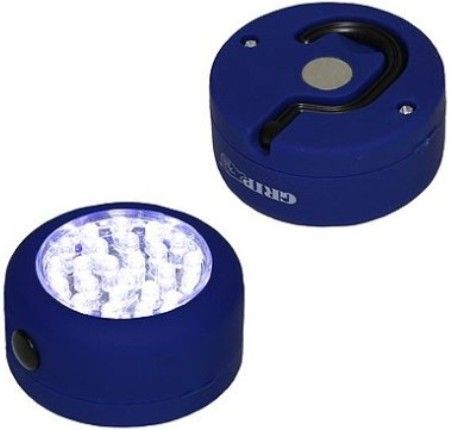 GRIP On Tools 37236 Twenty Four LED Button Worklight, Compact battery operated light has a powerful magnet and clip hook, allowing easy attachment in any temporary situation; Provide a great deal of light in closets, garages, under the hood, in the trunk or anywhere illumination is needed; 24 LED bulbs provide energy efficient bright white light, UPC 097257372363 (GRIP37236 GRIP-37236 37-236 372-36)