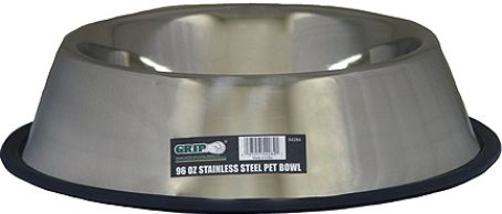 GRIP On Tools 54284 Stainless Steel Pet Bowl, 96 oz. capacity; Designed for everyday use by any pet; Will not stain, rust, crack or discolor; Chewproof, odor-free and easy to clean; Dishwasher safe; UPC 097257542841 (GRIP54284 GRIP-54284 54-284 542-84)