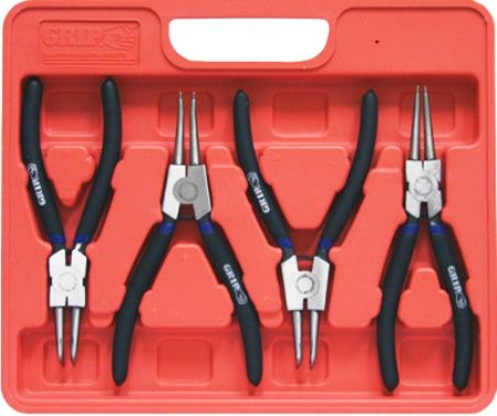 grip on tools 57135 four piece 7 circlip pliers set drop forged heat treated steel deluxe. Black Bedroom Furniture Sets. Home Design Ideas