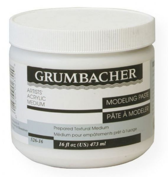 Grumbacher 52616 Modeling Paste 16 oz; For texture effects; Ready-to-use paste with excellent adhesive qualities; Shape and texture when wet; Cut, carve, and sand when dry; Makes acrylic colors more viscous, translucent, matte, and slower drying; Shipping Weight 1.00 lb; Shipping Dimensions 3.50 x 3.50 x 5.00 inches; UPC 014173355911 (GRUMBACHER52616 GRUMBACHER-52616 MODELING PAINTING MEDIUM)