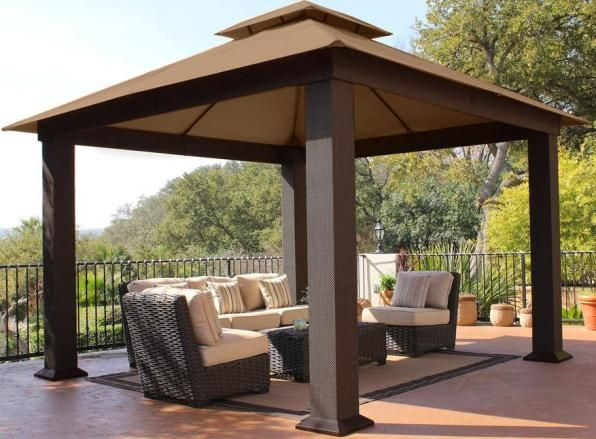 STC GZ734S Santa Cruz Gazebo with Cocoa Canopy; Easily bolts to concrete or wood; ground stakes included; Vented ... & STC GZ734S Santa Cruz Gazebo with Cocoa Canopy; Easily bolts to ...