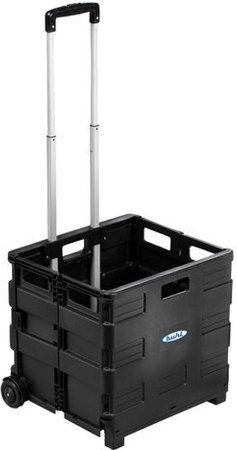 HamiltonBuhl EZCRATE Portable Crate with Extendable Handle, Lightweight Durable Plastic, Interior 14