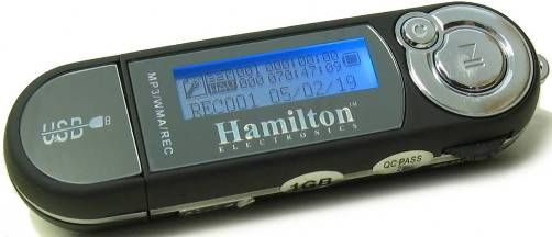 HamiltonBuhl HAMP-3 Portable 1GB MP3 Player, Built-in mic for WAV recording, Backlit display, Compatible with Windows XP/Vista, Mac OSX, Linux (Connects as generic USB device, no software drivers needed), Certified compatible with the USB Transfer Express and EduCast systems, Includes 1 AAA Battery, 1 pair ear buds, 1 USB extension cable, UPC 681181220144 (HAMP3 HAMP3)