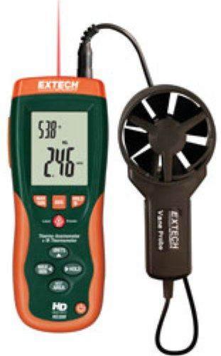 Extech HD300-NIST CFM/CMM Thermo-Anemometer with IR Temperature & NIST Certificate, InfraRed Thermometer measures remote surface temperatures to 932°F (500°C) with 30:1 distance to spot ratio and Laser pointer (HD300NIST HD300 NIST HD-300 HD 300)