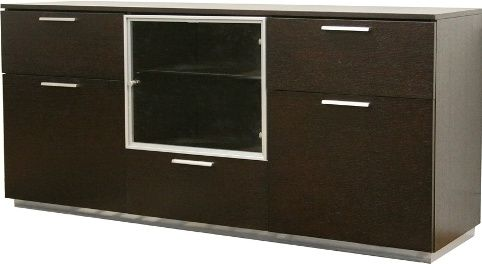 Whole Interiors He3602 M Wenge Adele Dark Brown Wood Modern Dining Room Buffet Three Drawers And Cabinets With Doors Silver Metal Handles