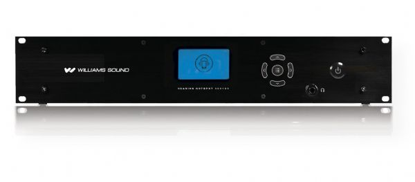 "Williams Sound HHS 124 Hearing HotSpot Server With 24 Analog Inputs; One box solution provides up to 32 mono and 16 stereo channels of analog audio; Front LCD display and easy to use menu; Adjustable input levels, via front menu; Expandable 8, 16, 24, 32 analog audio input channels with 8 channel analog input modules HHS CH8; Standard 2 RU 19"" rackmount, 13"" D (deep rack required); Weight: 14.0 lb (HHS124, HHS-124 HHS/124)"