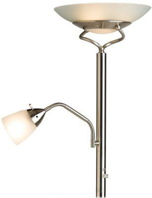 Holmes HL4041MGCS Incadescent Torchiere Floor Lamp With Reading Light And  MasterGlow, Chrome Satin Finish, Frosted Glass Shades ...