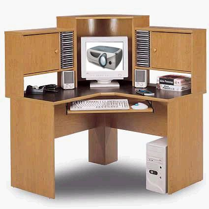 Superbe Bush HM39410 Corner Desk And Hutch Contry Manor Maple   Mineral Brown  Reflections Collection (HM