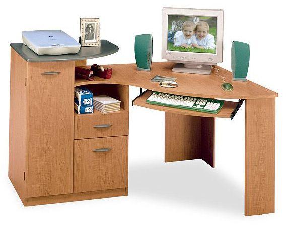 Bush Hm64415 Corner Desk Contours Collection Country Manor Maple Finish Hm 64415
