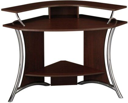 Bush Hm98600 03 Tacoma Corner Computer Desk In Harvest Cherry Comfortable Viewing Angle With An Elevated Monitor Shelf Gently Curved Chrome Rails