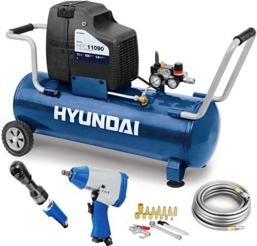 Hyundai Hpc11090 Home Air Compressor Kit 11 Gallon Tank For Longer Use And Fewer Cycles Powerful And Efficient 1 1 Hp Motor Oil Free Compressor Pump