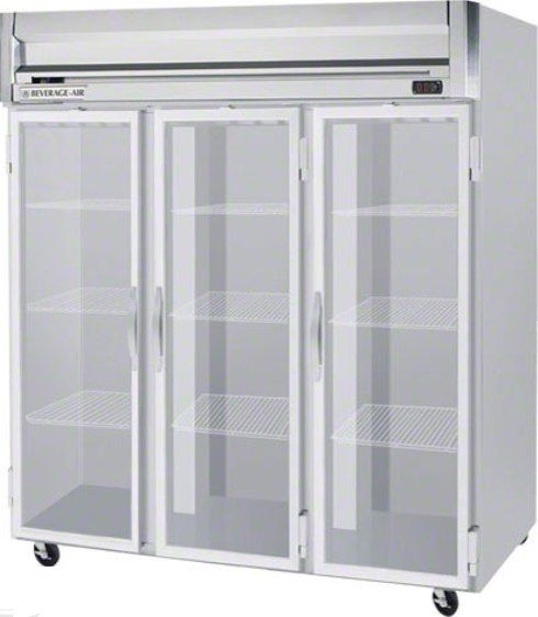 Beverage Air HRS3-1G Glass Door Reach-In Refrigerator, 10 Amps, Top Compressor Location, 74 Cubic Feet, Glass Door Type, 1/2 Horsepower, 3 Number of Doors, 3 Number of Sections, Swing Opening Style, 9 Shelves, 36°F - 38°F Temperature, 6