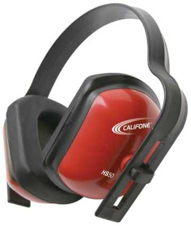 Califone HS50 Hearing Safe Protective Headphone, Rugged polypropylene headstrap, ABS plastic earcups hold up to continued usage in high-use settings, Adjustable headband, Bright red safety color, Noise reduction rating 28db, Adjustable earcups, Dielectric (non conducting material), Fuller sized earcups than standard hearing protector, UPC 610356466001 (HS-50 HS 50)